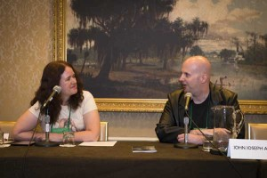 Lisa interviewing Editor Guest of Honor John Joseph Adams at the 2013 World Horror Convention in New Orleans