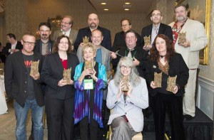 Lisa (at right) with her Bram Stoker Awards for TRICK OR TREAT: A HISTORY OF HALLOWEEN and WITCH HUNTS: A GRAPHIC HISTORY OF THE BURNING TIMES, New Orleans, June 2013